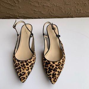 COLE HAAN Leopard Calf Hair Slingback Heels